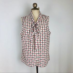 Geometric patterned neck tie silky blouse new 16P